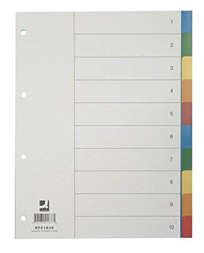 Q-Connect KF01836 Trennblätter,Farbregister,Aktenfahnen,Universalregister Register Plastik A4 10 teilig bunt