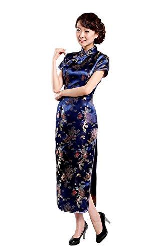 Black Omen (ブラックオーメン) 龍と鳳鳳柄 チャイナドレス (青色(ブルー)、XXL)op021bl/xxl
