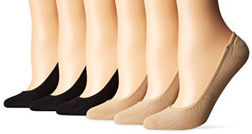 PEDS Women's Essential Low Cut No Show Socks, 6 Pairs, Black/Nude, Shoe Size: 5-10