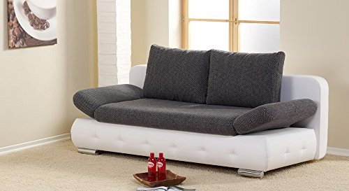 lifestyle4living Schlafsofa in Grau/Weiß, Bettkasten, 2-Sitzer Sofa mit Schlaffunktion, Stoff/Kunstleder, Federkern-Polsterung | Gemütliche Couch in modernem Design