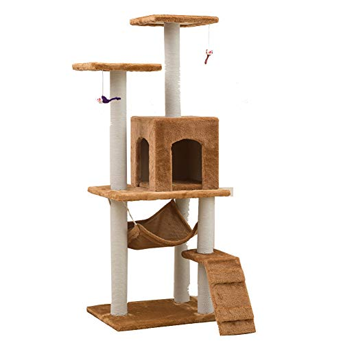 Aida Bz Pet Fournitures Chat Jouet Chat Cadre d'escalade Cat Scratch Board Chat Arbre nid sisal Colonne de Corde Grand nid d'animaux,Brown