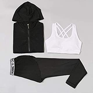 BEESCLOVER New Women Mesh Hooded Yoga Top + Sports Pants + Bust Sport Suit Yoga Set Running Fitness Training Clothing for Women Sportswear