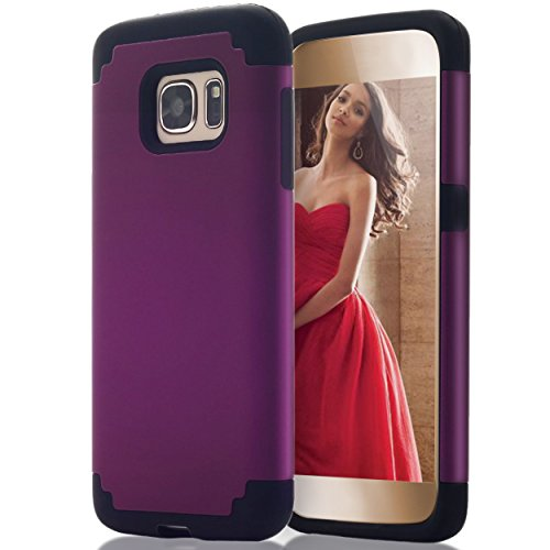 Ailun Phone Case Compatible with Galaxy S7 Soft Interior Silicone Bumper Hard Shell Solid PC Back Shock Absorption Skid Proof Anti Scratch Hybrid Dual Layer Slim Cover Purple