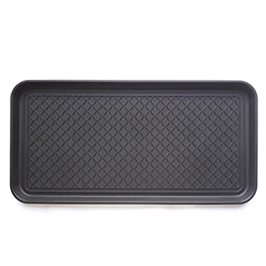 Ottomanson Multi-Purpose Indoor & Outdoor Waterproof Tray, 30  X 15 , Black