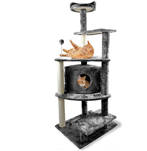 FurHaven Pet Cat Tree | Tiger Tough Cat Tree House Furniture for Cats & Kittens, Platform House Playground, Gray