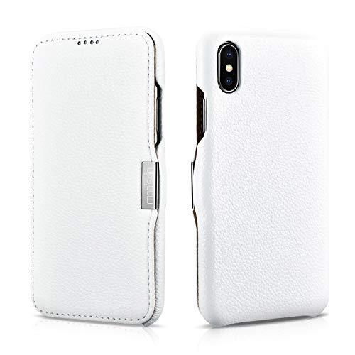 Mobiskin Hülle kompatibel mit Apple iPhone XS & iPhone X, Handyhülle mit echtem Leder, Hülle, Schutzhülle, dünne Handy-Tasche, Slim Cover, Weiß
