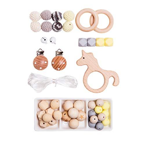 Mamimami Home Baby Holz Beißring Ringe Rassel Perler Häkeln Perlen Dummy Clips Baby Armband Kinderkrankheiten Halskette für Mama Montessori Spielzeug