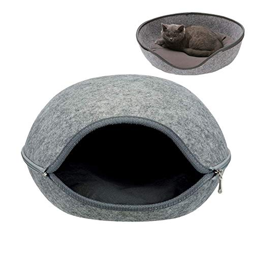 SMEI Ball Pet Cat Beds Nest Cat House Basket Pet Cave Funny Egg-Type Pet Nest Cat House All Season Round Kitten Hole Comfortable Warm M Gris