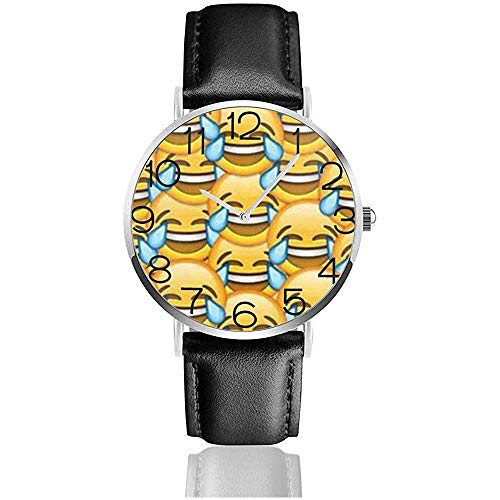 Uhr Armbanduhr Piktogramm Classic Casual Quarz Schwarz Lederarmband Uhr Business-Uhren