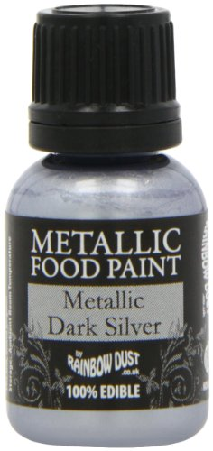 Rainbow Dust Metallic-Lebensmittelfarbe Dark Silver, 1er Pack (1 x 25 ml)