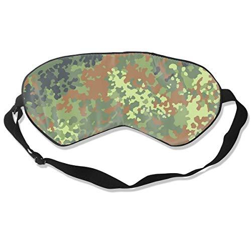Schlafmaske Bundeswehr Flecktarn Camo Seidenmaske mit verstellbarem Kopfband Block Light Nap Augenbinde