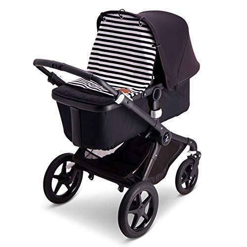 Baby Wallaby Capota para la mayoría de los cochecitos de bebé, diseño escandinavo, ajuste universal, sin sustancias nocivas, 52 x 57 cm, protección solar, a rayas blancas y negras