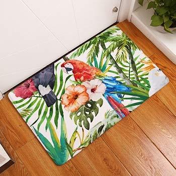 OPLJ Tropical Plant Strauß Print Teppiche rutschfeste Küchenteppiche für Wohnzimmer Bodenmatte Teppich Waschbare Bodenmatte A3 50x80cm