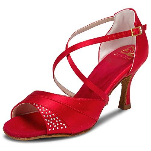 JIA JIA 20522 Damen Sandalen Ausgestelltes Heel Super-Satin mit Strass Latein Tanzschuhe Rot, 39