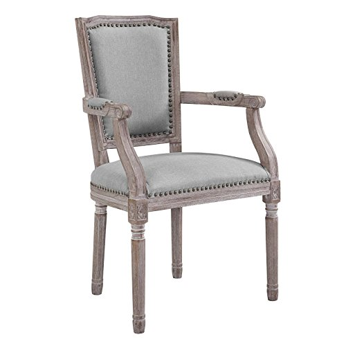 Modway Penchant French Vintage Upholstered Fabric Dining Armchair with Nailhead Trim in Light Gray