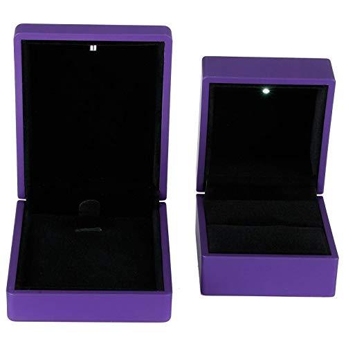 LED Jewelry Gift Box, Necklace Box, Mini Size Non‑Toxic Elegant Ring Box, for Proposal Engagement(Purple)