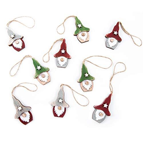 Logbuch-Verlag 9 Wichtelanhänger kleine Wichtel aus Holz Weihnachtsanhänger Natur grün rot Weihnachtsdeko Geschenkanhänger Mini Wichtelgeschenk Deko Weihnachten