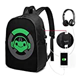 Lucio Overwatch Video Game USB Backpack 17-Inch Laptop Backpack Adjustable Shoulder Strap Business Travel College School Backpacks