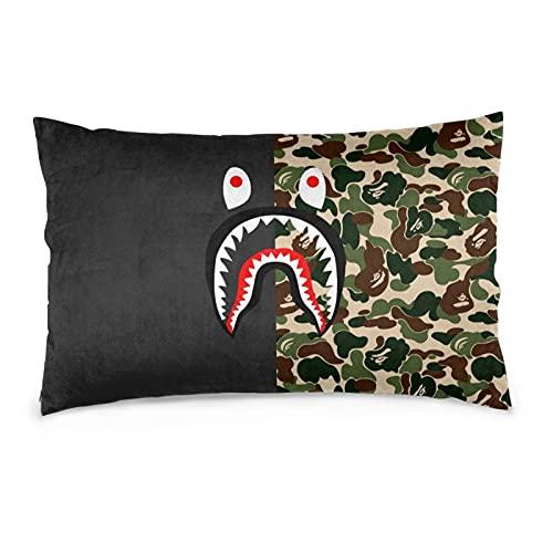 Shark Ape Bape - Fundas de almohada cuadradas para sofá, funda de almohada de terciopelo, funda de cojín suave, 40,6 x 60,6 cm