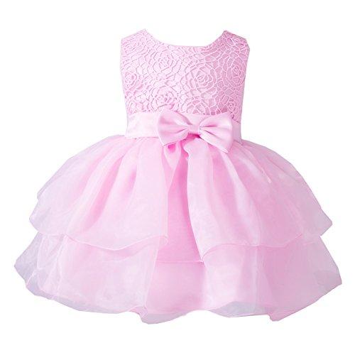 LaoZan Baby - Mädchen Prinzessin Kleider Ärmellos Bownot Tüll Festlich Kleid Tutu Kleid Pink XL /...