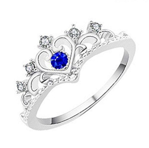 Nicebags Anillo de cristal romántico con corona de diamantes de imitación para novia, regalo de vacaciones favorito, elegante, anillo ajustable de oro rosa, Aleación de zinc,
