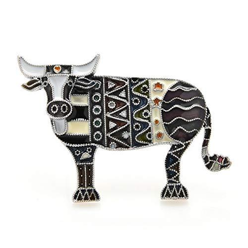 Broches esmaltados para ganado de estilo nacional, mujeres, hombres, toro, informal, animal, fiesta, broche, regalos, color negro