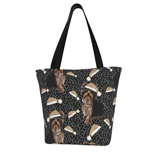 パーソナライズされたキャンバストートバッグ、クリスマスのためのヨーキーゴールドブラックAbtウォッシャブルハンドバッグショルダーバッグ食料品バッグ女性のためのショッピングバッグ