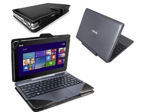 Navitech schwarzes bycast Leder Book Style Case für das Odys Windesk X10 25,7 cm (10,1 Zoll) Convertible Tablet-PC