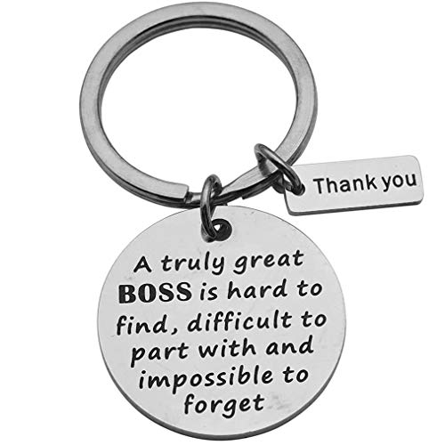 Beeshion Boss Gift Boss Keychain Personalized Gifts for Boss Thank You Gift for Boss Coworker Goodbye Gifts (A truly great Boss is hard to find, difficult to part with, and impossible to forget)