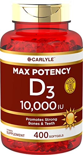 Vitamin D 10000 IU 400 Softgels | Value Size | Max Potency | Promotes Strong Bones and Teeth | Non-GMO, Gluten Free Supplement | by Carlyle