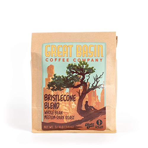 Great Basin Coffee Co. Bristlecone Blend Whole Bean Coffee - Gourmet Fresh Small Batch Medium Dark Roast Whole Coffee Beans, Ideal for French Press, Cold Brew and Pour Over Coffee - 3/4 lb (340 g)