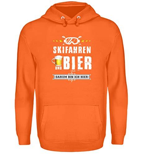 Skifahrer T-Shirt Hoodie Ski & Bier für Winterurlaub - Unisex Kapuzenpullover Hoodie -XXL-Mandarin Orange