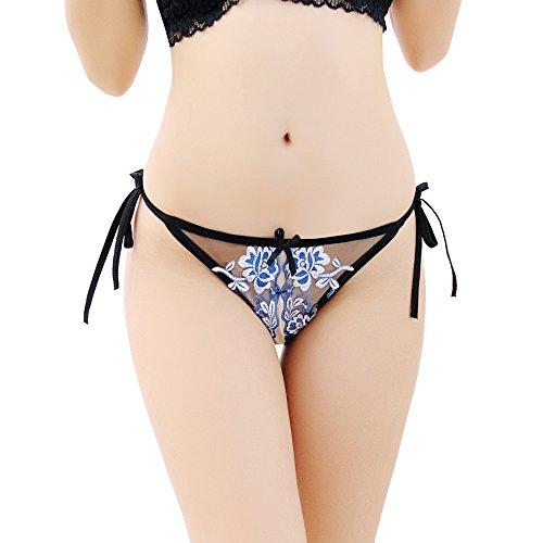 DDSCOLOUR Donna Sexy Tanga di Pizzo con Aperto Strappy Trasparenza Tentazione Pantaloni -String Thongs Slip Perizoma Biancheria Intima Mutande Blu