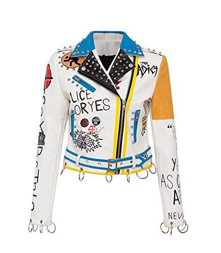 Chaqueta de cuero para mujer, diseño de graffiti colorido, chaquetas y abrigos, ropa de señora punk Streetwear, top de corte delgado, blanco, S