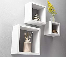 3 Cubic Wall Shelves wood - white color