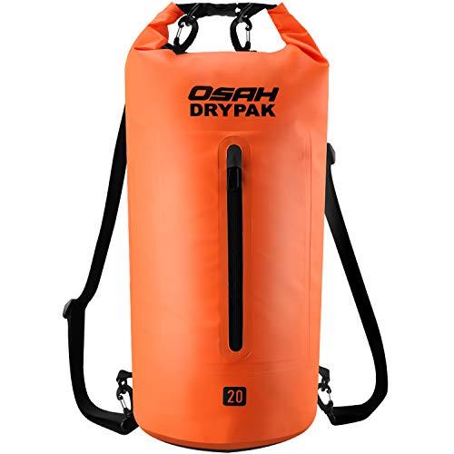 Borse Impermeabile Sacca Dry Bag 5L 10L 15L 20L 30L con Tracolla Regolabile per Spiaggia Sport dAcqua Trekking Kayak Canoa Pesca Rafting Nuoto Campeggio (Arancione, 15L)