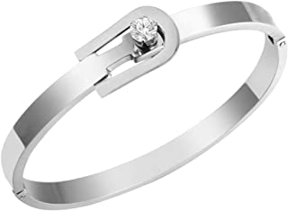 Designer Inspired Titanium Steel Belt Buckle Love Bracelet with Swarovski Crystals