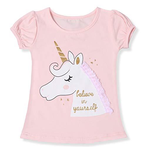 TTYAOVO Camiseta de Algodón Unicornio para Niñas, Camiseta de Manga Corta para Niños Camiseta de Impresión Unicornio Lindo Tamaño 5-6 Años Rosa Claro