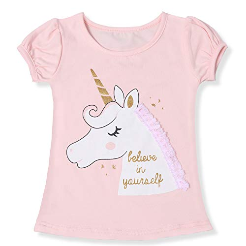 TTYAOVO Camiseta de Algodón Unicornio para Niñas, Camiseta de Manga Corta para Niños Camiseta de Impresión Unicornio Lindo Tamaño 3-4 Años Rosa Claro