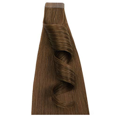 Desinas® Pro Tape Extensions aus Echthaar in Salonqualität | Haarverlängerung 40cm, 50cm | goldbraun (50cm)