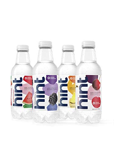 Hint Water Best Sellers Pack (Pack of 12), 16 Ounce Bottles, 3 Bottles Each of: Watermelon, Blackberry, Cherry, and Pineapple, Zero Calories, Zero Sugar and Zero Sweeteners