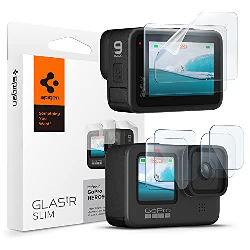 Spigen Protezione Schermo compatibile con GoPro Hero Black 9 - 2 pezzi Vetro temperato per schermo frontale + 2 pezzi Vetro temperato per obiettivo fotocamera + 2 pezzi Pellicola per Touch screen