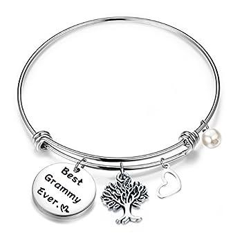 FEELMEM Bracelet Gift for Grammy Best Grammy Ever Expandable Wire Bangle Grandma Gift  Silver