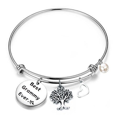 FEELMEM Bracelet Gift for Grammy Best Grammy Ever Expandable Wire Bangle Grandma Gift (Silver)