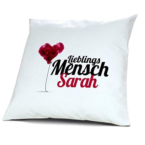 """Kopfkissen mit Namen Sarah - Motiv """"Lieblingsmensch"""", 40 cm, 100% Baumwolle, Kuschelkissen, Liebeskissen, Namenskissen, Geschenkidee"""