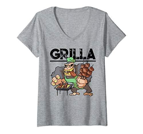 Damen Grill Grillen BBQ und Smoker Gorilla Spruch Griller Geschenk T-Shirt mit V-Ausschnitt