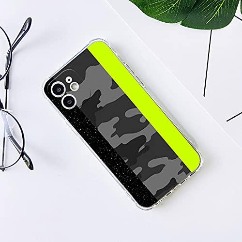 Custodia per telefono conmotivo mimetico giallo scintillante grigioper Iphone 12 11 ProXS MAX 8 7 6S Plus XSE 2020 XR Cover posteriore in TPU antiurto, C, per iPhone 6