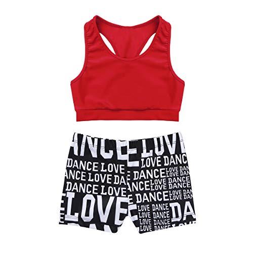 JanJean Girls' Kids 2-Piece Active Sport Dance Outfit Crop Top Booty Shorts Ballet Gym Gymnastics Leotard or Swimwear Red 7-8