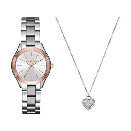 Michael Kors Women's Mini Slim Runway Silver-Tone Watch MK3514 & Michael Kors Silver Tone Logo Heart Pendant Necklace