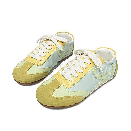 ASMCY Mujer Zapatillas Antideslizante Ligero Respirable Corriendo Casual Moda Zapatos Deportivos Al Aire Libre Caminando Gimnasio Fitness Atlético Zapatos,Amarillo,EU36